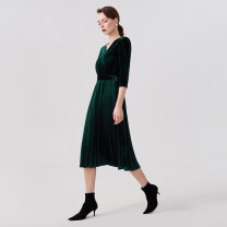 Dress Autumn 2020 blackish green 155/80A/S,160/84A/M,165/88A/L,170/92A/XL Middle-skirt singleton  three quarter sleeve commute V-neck middle-waisted other Pleated skirt routine 25-29 years old Type A Other / other Ol style Flocking other polyester fiber