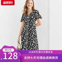 Dress Summer 2020 black 155/36/S,160/38/M,165/40/L,170/42/XL,175/44/XXL Mid length dress singleton  Short sleeve commute V-neck middle-waisted Decor Socket A-line skirt puff sleeve Others 30-34 years old Type X Sound Simplicity 8C50205577 More than 95%