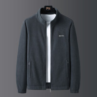 Jacket SYAK Fashion City XXL 4XL 5XL M L XL 3XL routine standard Other leisure spring Polyester 100% Long sleeves Wear out stand collar Business Casual middle age routine zipper Cloth hem No iron treatment routine Solid color Spring 2021 Side seam pocket Pure e-commerce (online only) polyester fiber