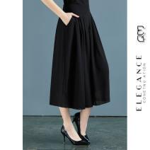 Casual pants Black chiffon Capris L 90-115kg, XL 115-130kg, 2XL 130-145kg, 3XL 145-160kg Cropped Trousers Wide leg pants High waist 30% and below Other / other