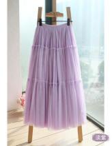 skirt Spring of 2019 Mid length dress commute High waist Cake skirt Solid color Korean version