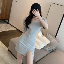 Women's large Summer 2021 Grey black L XL S M Dress singleton  commute Socket Solid color Crew neck polyester fiber routine MYD-8081A Manyi Butterfly 18-24 years old Short skirt Other 100% Pure e-commerce (online only) other
