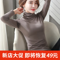 T-shirt S ml XL XXL XXL size is too small / please refer to the size chart or consult customer service for details Winter of 2019 Long sleeves High collar Self cultivation Regular routine commute cotton 96% and above 18-24 years old Korean version classic Solid color Xin Di Mei xdmgl109
