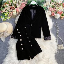 suit Winter 2020 Black, cute hair band S,M,L Long sleeves tailored collar commute routine Solid color 18-24 years old 30% and below other Other / other