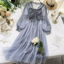 Dress Summer 2020 Pink, light green, apricot, black, grey blue, sling M, L Mid length dress Two piece set Long sleeves commute V-neck High waist Solid color Socket A-line skirt puff sleeve Others 18-24 years old Type A Korean version Button, mesh, lace 31% (inclusive) - 50% (inclusive) Lace other