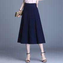 skirt Spring 2021 M 2-foot waist, l 2-foot-1 waist, XL 2-foot-2 waist, 2XL 2-foot-3 waist, 3XL 2-foot-4 waist, 4XL 2-foot-5 waist Blue, khaki, black, gray Mid length dress High waist A-line skirt Pleating