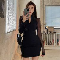 Dress Winter 2016 Mesh stitching skirt S M L Short skirt Fake two pieces Long sleeves commute Half high collar High waist Solid color zipper A-line skirt routine 18-24 years old Ruomi Korean version Stitched mesh zipper AH11227 More than 95% other Other 100%