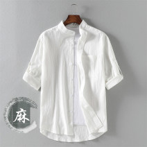 shirt Youth fashion Dust fierce M L XL 2XL 3XL 4XL 5XL Army green white black any two routine stand collar elbow sleeve easy Other leisure summer CH170012 youth Cotton 100% tide 2021 Spring 2021 Pure e-commerce (online only)