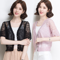 Wool knitwear Spring 2021 S recommended 80-90 Jin, m recommended 91-105 Jin, l recommended 106-118 Jin, XL recommended 119-130 Jin, XXL recommended 131-140 Jin, 3XL recommended 141-160 Jin Short sleeve singleton  Cardigan Viscose 81% (inclusive) - 90% (inclusive) ultrathin commute easy V-neck routine