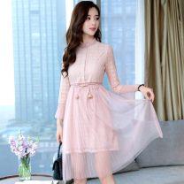 Dress Spring 2021 Apricot, pink S,M,L,XL Mid length dress singleton  Long sleeves