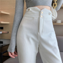 Casual pants White black S M XS L Spring 2021 trousers Wide leg pants High waist commute routine 18-24 years old 71% (inclusive) - 80% (inclusive) corduroy Korean version pocket polyester fiber Other 100% Pure e-commerce (online only) Asymmetry