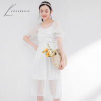 Dress Summer 2020 White apricot S M L longuette singleton  Short sleeve commute V-neck High waist Solid color Socket A-line skirt puff sleeve 18-24 years old Type A Katie Ermilio More than 95% polyester fiber Polyester 100% Pure e-commerce (online only)