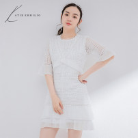 Dress Summer 2020 white M L Mid length dress singleton  Long sleeves commute Crew neck middle-waisted Solid color Socket A-line skirt pagoda sleeve 25-29 years old Type A Katie Ermilio Lace K10054EX More than 95% polyester fiber Polyester 100% Pure e-commerce (online only)