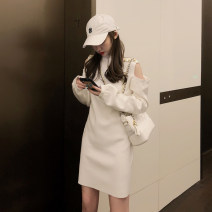Dress Spring 2021 Black, white S,M,L,XL Short skirt singleton  Long sleeves commute Crew neck High waist Solid color routine 18-24 years old Type H Other / other Korean version
