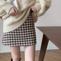 skirt Winter 2020 S. M, l, average size Short skirt commute High waist A-line skirt houndstooth  Type A 18-24 years old 71% (inclusive) - 80% (inclusive) Korean version