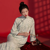 cheongsam Spring 2020 S M L XL XXL XXXL Picture color Long sleeves long cheongsam Retro Low slit daily Oblique lapel lattice 25-35 years old Piping Living in seclusion in an empty valley Old lady polyester fiber Polyethylene terephthalate (polyester) 100% Exclusive payment of tmall 96% and above