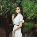 cheongsam Summer 2020 Short sleeve Simplicity No slits daily Solid color 25-35 years old Piping Flower heart Old lady polyester fiber Polyester 100% Pure e-commerce (online sales only) 96% and above long cheongsam S M L XL White (with green belt)