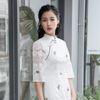 cheongsam Autumn of 2019 S M L XL XXL XXXL white Long sleeves long cheongsam grace Low slit daily Oblique lapel Decor 25-35 years old Embroidery Old lady cotton Cotton 80% other 20% Same model in shopping mall (sold online and offline) 71% (inclusive) - 80% (inclusive)