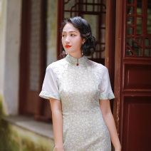 cheongsam Summer 2020 S M L XL Picture color Short sleeve long cheongsam Retro Low slit daily Oblique lapel Decor 25-35 years old Piping Liang Ling Old lady polyester fiber Polyethylene terephthalate (polyester) 100% Pure e-commerce (online only) 96% and above