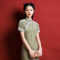 cheongsam Spring 2021 S M L XL Picture color Short sleeve long cheongsam Retro Low slit daily Oblique lapel stripe 25-35 years old Piping Old lady polyester fiber Same model in shopping mall (sold online and offline) 81% (inclusive) - 90% (inclusive)