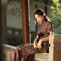 cheongsam Autumn 2020 S M L XL Cyanosis Short sleeve long cheongsam Retro High slit daily Oblique lapel Solid color Over 35 years old Piping Reminiscence of old friends Old lady polyester fiber Polyethylene terephthalate (PET) 92% polyurethane elastic fiber (spandex) 8% Exclusive payment of tmall