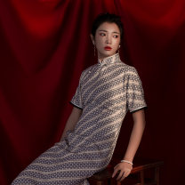 cheongsam Summer 2020 S M L XL Picture color Short sleeve long cheongsam Retro Low slit daily Oblique lapel Decor 25-35 years old Piping Cut autumn water Old lady polyester fiber Polyester 100% Same model in shopping mall (sold online and offline) 96% and above