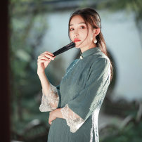cheongsam Autumn 2020 S M L XL Picture color Long sleeves long cheongsam Retro Low slit daily Oblique lapel Solid color 25-35 years old Piping Sparrow blue Old lady polyester fiber Polyester 100% Exclusive payment of tmall 96% and above