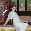 cheongsam Summer 2020 S M L XL Picture color Short sleeve Short cheongsam Retro Low slit daily Oblique lapel Solid color 25-35 years old Piping Chunnong Old lady polyester fiber Polyester 100% Same model in shopping mall (sold online and offline) 96% and above
