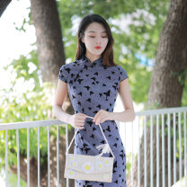 cheongsam Winter 2020 S M L XL Wangmei Short sleeve long cheongsam grace Low slit daily Animal design 25-35 years old Piping Wangmei Old lady polyester fiber Polyethylene terephthalate (PET) 97% polyurethane elastic fiber (spandex) 3% Exclusive payment of tmall 96% and above