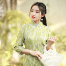 cheongsam Autumn 2020 S M L XL Olive green Long sleeves Short cheongsam Retro Low slit daily double-breasted  Decor 25-35 years old Piping Chanting from Fenglou Old lady polyester fiber Polyethylene terephthalate (polyester) 100% Exclusive payment of tmall 96% and above
