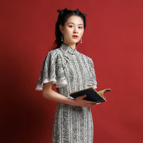 cheongsam Spring 2021 S M L XL Picture color Short sleeve long cheongsam Retro Low slit daily Oblique lapel Decor 25-35 years old Piping Come with the clouds Old lady polyester fiber Polyester 100% Same model in shopping mall (sold online and offline) 96% and above
