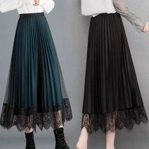 skirt Summer 2020 S suggested [80-100 kg], m suggested [100-120 kg], l suggested [120-140 kg], XL suggested [140-160 kg] Black (skirt length 80cm), peacock green (skirt length 80cm) Mid length dress High waist Pleated skirt Pleats, gauze, lace