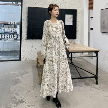 Dress Spring 2020 Off white broken flowers, black broken flowers 2XL 3XL S M L XL XS Mid length dress singleton  Long sleeves commute V-neck High waist Decor Socket Big swing routine Others 18-24 years old Type A Enmiyan Korean version 2020-073A-M322 More than 95% polyester fiber Polyester 100%