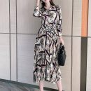 Dress Spring 2021 Black, red 2 = s, 3 = m, 4 = L, 5 = XL Mid length dress singleton  Long sleeves commute square neck High waist Broken flowers Socket A-line skirt routine Others Type A Brother amashi More than 95% other nylon