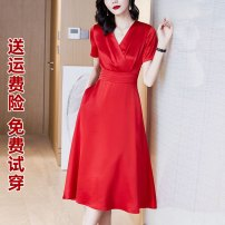 Dress Autumn 2020 S M L XL 2XL 3XL Mid length dress singleton  Long sleeves commute V-neck High waist Solid color Socket Big swing routine 35-39 years old Type A Korean version fold 71% (inclusive) - 80% (inclusive) Cellulose acetate Acetate 74% polyester 26% Pure e-commerce (online only)