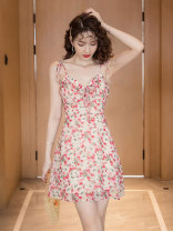 Dress Summer 2021 Pink flowers S M L XL Short skirt singleton  Sleeveless commute High waist Broken flowers Socket A-line skirt camisole 18-24 years old Xiao Feng Korean version Bandage printing XF-0415-8932 More than 95% Chiffon other Other 100%