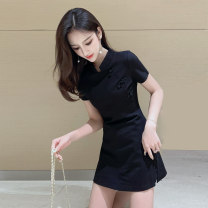 cheongsam Summer 2020 S M L XL XXL Black Short Sleeve Black Long Sleeve Short sleeve Short cheongsam Retro High slit daily Oblique lapel Solid color 18-25 years old MC-04-17-01 Xiao Feng other Other 100% Pure e-commerce (online only) 96% and above