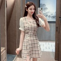 Dress Summer 2021 Red and black S M L XL Short skirt Two piece set Short sleeve commute square neck High waist lattice A-line skirt puff sleeve 18-24 years old Xiao Feng Retro Button MZ-0312-3367 More than 95% other Other 100%