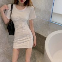 shirt Pink white grey S M L Summer 2021 other 96% and above Short sleeve commute Medium length Crew neck Socket routine Solid color 18-24 years old Self cultivation Sonryton Korean version 3331# Other 100% Pure e-commerce (online only)