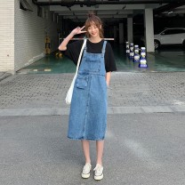 Dress Summer 2020 blue S M L Mid length dress singleton  Sleeveless commute square neck High waist Solid color Socket A-line skirt straps 18-24 years old Type H Djoff Korean version pocket rHa3l 81% (inclusive) - 90% (inclusive) other Lycra Lycra Pure e-commerce (online only)