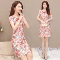 Dress Summer 2020 Red, blue, pink, green M,L,XL,2XL,3XL,4XL Middle-skirt singleton  Short sleeve commute Crew neck middle-waisted Decor Socket A-line skirt routine Others 35-39 years old Type A Tang Cai's Secret Korean version printing TCMM0661 More than 95% polyester fiber