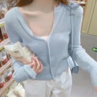 Wool knitwear Summer 2020 S,M,L Ginger, soft milk blue, peach powder, rice white, milk tea, taro, lavender purple, ash, mustard green Long sleeves singleton  Cardigan other More than 95% Regular Thin money commute easy V-neck routine Solid color Single breasted Korean version Dongguan-913 Other