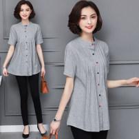 shirt Khaki grey M L XL 2XL 3XL 4XL Summer 2020 other 96% and above Short sleeve Original design Regular stand collar stripe 30-34 years old Charming YFPS65944 Other 100%