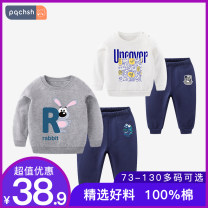 suit Legend of page 73cm 80cm 90cm 105cm 110cm 120cm 130cm male spring and autumn leisure time Long sleeve + pants 2 pieces routine There are models in the real shooting Socket nothing Cartoon animation cotton F399 black + g470 black bar Class A Cotton 100% Autumn 2020 Chinese Mainland Dongguan City