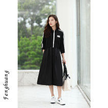 Dress Summer 2021 black S M L Mid length dress singleton  three quarter sleeve commute stand collar High waist Solid color zipper A-line skirt routine Others 25-29 years old Feng Huang Simplicity Splicing FH4187 More than 95% other other Other 100% Pure e-commerce (online only)
