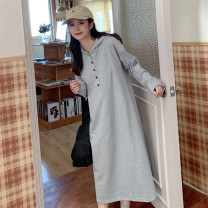Women's large Autumn 2020 Grey black M (suitable for 80-139 kg) l (suitable for 140-180 kg) Sweater / sweater singleton  commute easy thin Socket Long sleeves Solid color Korean version Hood Medium length cotton printing and dyeing routine YHM1781 Yan Hua cat 18-24 years old Button 30% and below