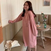 Dress Autumn 2020 Pink gray black white M L Mid length dress singleton  Long sleeves commute Hood Loose waist letter Socket other routine Others 18-24 years old Type H Yan Hua cat Korean version Pocket lace up print YHM1783 71% (inclusive) - 80% (inclusive) polyester fiber Polyester 75% cotton 25%