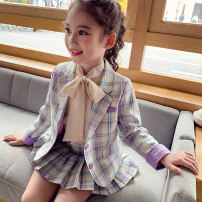 suit Mimihello violet 100cm 110cm 120cm 130cm 140cm 150cm 160cm female spring and autumn Korean version 2 pieces routine There are models in the real shooting Single breasted nothing lattice cotton friend Expression of love MQS90638 Class B Other 100% Spring 2021 Chinese Mainland