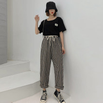 Women's large Summer 2021 Yellow check black check L [95-110 Jin] XL [110-130 Jin] 2XL [130-150 Jin] 3XL [150-170 Jin] 4XL [170-200 Jin] 5XL [190-230 Jin] trousers singleton  commute easy moderate lattice Korean version polyester MKD-KX152 Mikedo 18-24 years old pocket Other 100% trousers