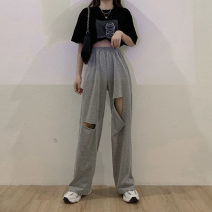 Women's large Summer 2021 Grey black M [85-95 Jin] l [95-110 Jin] XL [110-130 Jin] 2XL [130-150 Jin] 3XL [150-170 Jin] 4XL [170-200 Jin] 5XL [190-230 Jin] trousers commute Korean version cotton MKD-XX6246 Mikedo 18-24 years old hole 30% and below Other 100% Pure e-commerce (online only) trousers